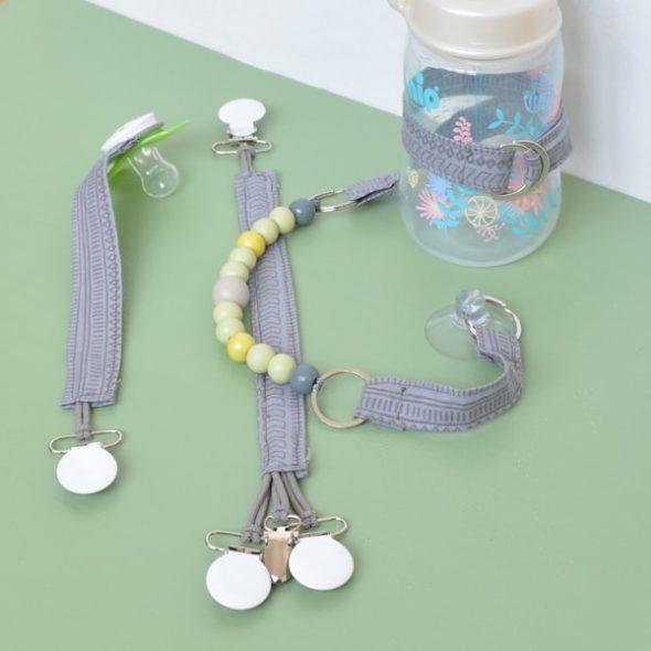 DIY Flaschenleine, Schnullerband und Spielzeugfesthalter