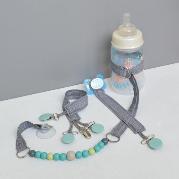 Schnullerband, Flaschenleine und Spielzeugfesthalter selbermachen