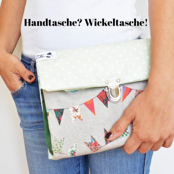 Wickeltasche Wickelunterlage - grün + Wimpel