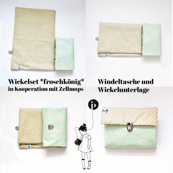 Wickelset *froschkönig*: Windeltasche und Wickelunterlage von ilma pallo